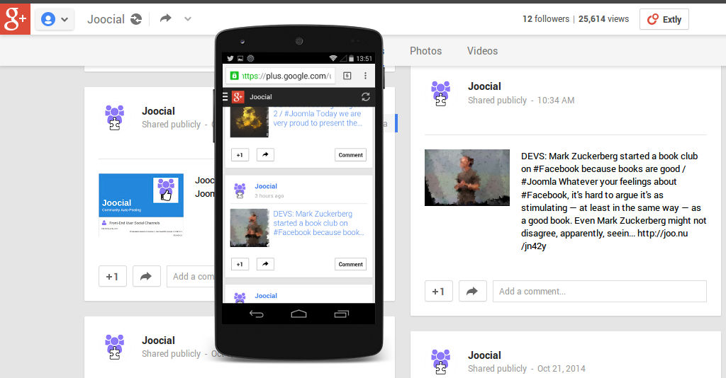 Content auto-published from Joomla! to a Google+ channel