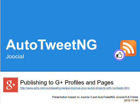 AutoTweetNG Joocial-publishing to Gplus Profiles and Pages