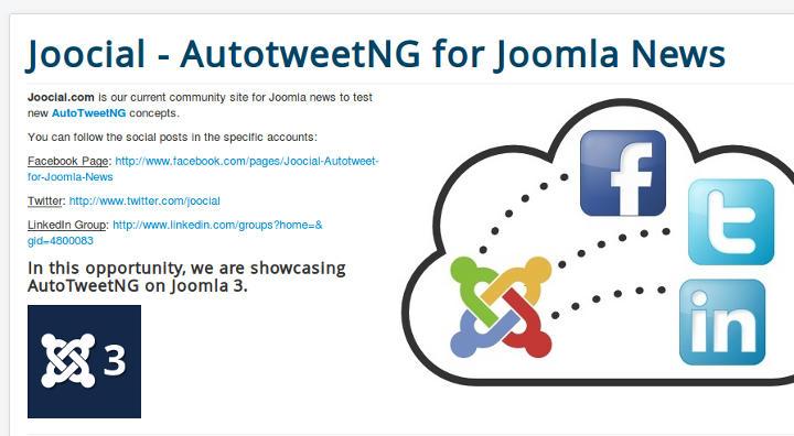 Joocial - AutotweetNG for Joomla News