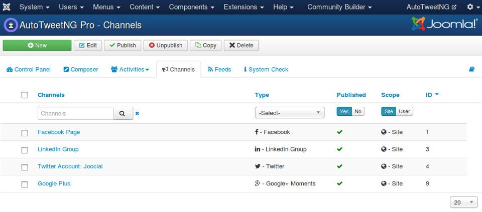 AutoTweet is ready for Multiple Social Channels