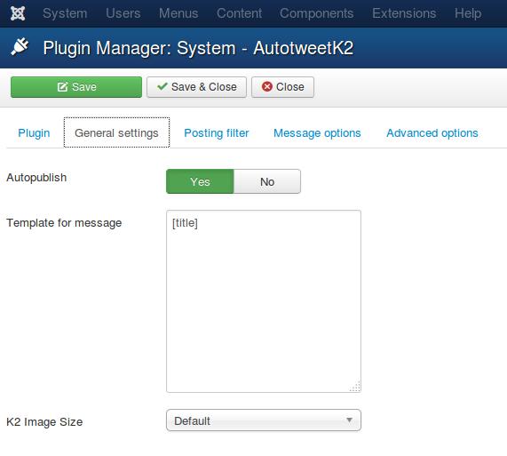 AutotweetK2 plugin General Configuration