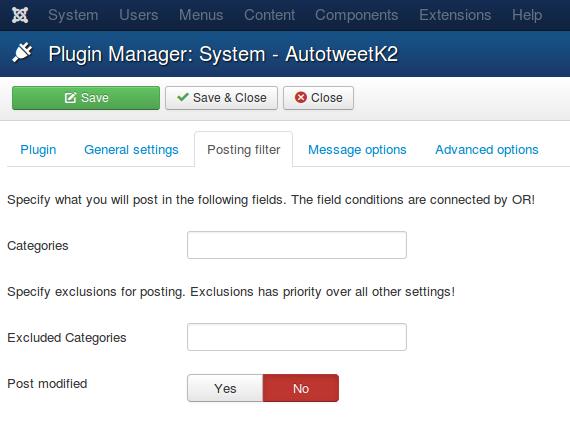 AutotweetK2 plugin Posting filter