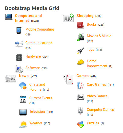 Bootstrap Media Grid Layout, with Icons