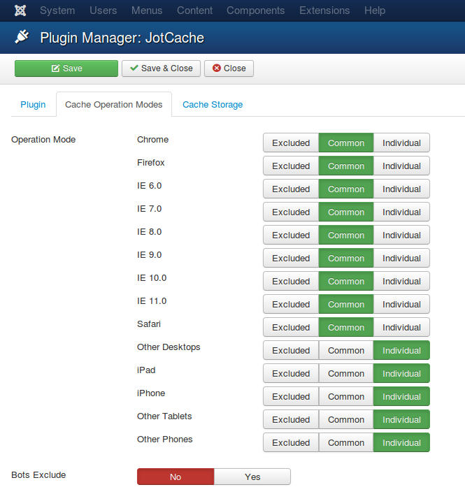 JotCache Configuration for Mobile