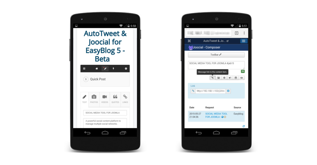 Social content management on EasyBlog 5 Beta Mobile View