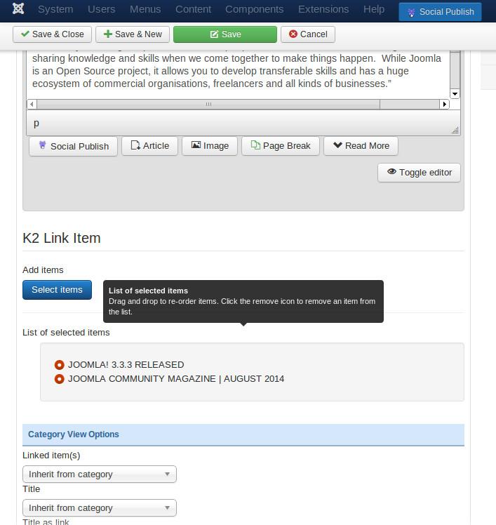 XT-K2 Link Item - Configuration