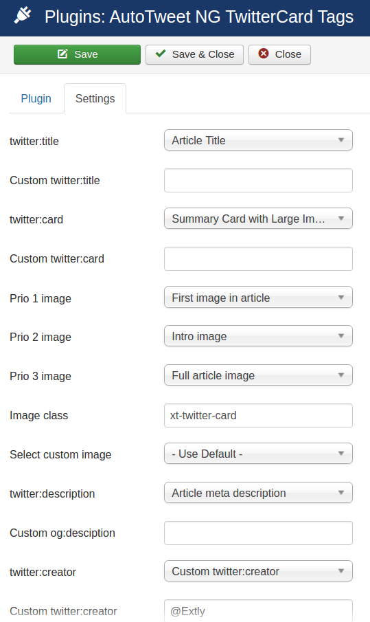 AutoTweet TwitterCard Tags plugin - Configuration
