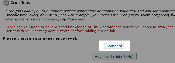 After clicking Cronjobs, click Standard to proceed