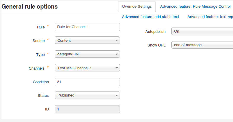 Rule for Channel 1 and a specific category