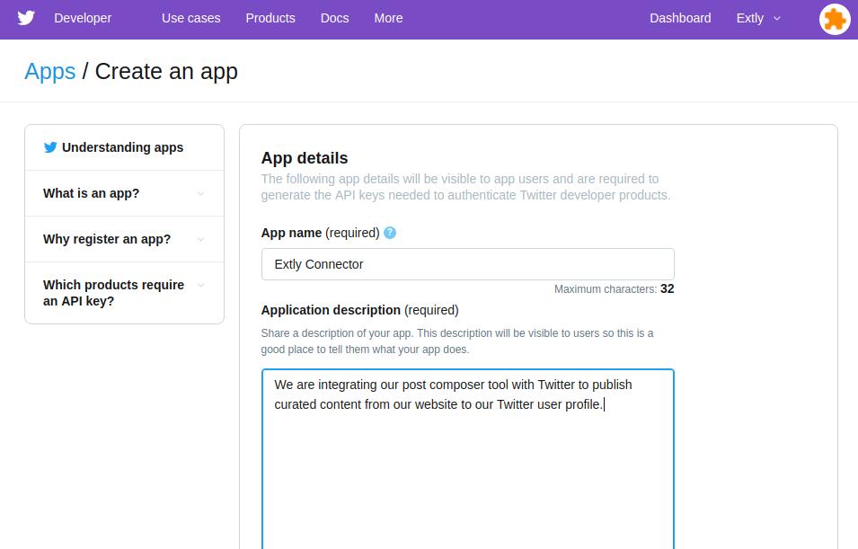 Create an app - App Details