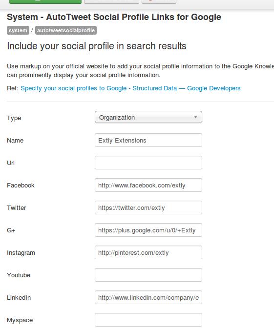 AutoTweet Social Profile Links General Configuration