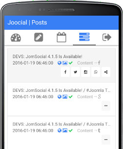 Joocial Composer App, mobile sharing