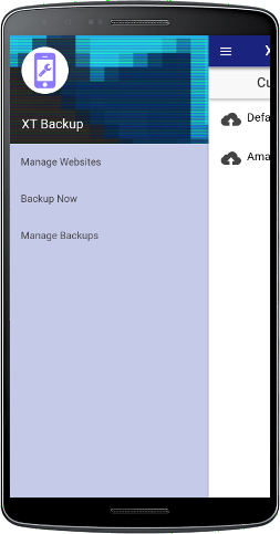XT Backup - Website management menu