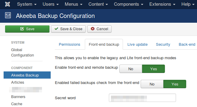 Joomla configuration for Akeeba front-end and remote backup