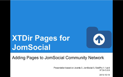 XTDir - Adding Pages to JomSocial Community Network